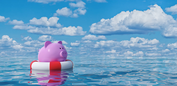 Piggy bank in lifebuoy on blue sea,Savings Protection Concept 3d render 3d illustration