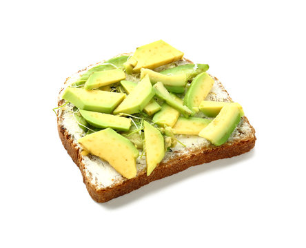 Delicious toast with avocado on white background