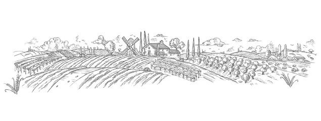 rural landscape Hand drawn with plant. Vector illustration Wall mural