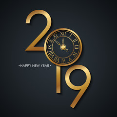 2019 New Year celebrate card with holiday greetings Happy New Year and golden colored new year clock face on black background. Vector illustration.