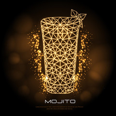 Hipster polygonal cocktail mojito neon sign. Triangle cocktail
