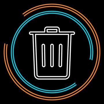 Simple Trash Thin Line Vector Icon