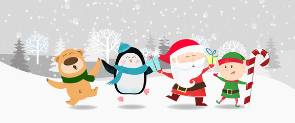Cartoon company poster winter design. Illustration with dancing Santa Claus, penguin, elf and cute beer on background with winter forest. Can be used for postcards, invitations, greeting cards