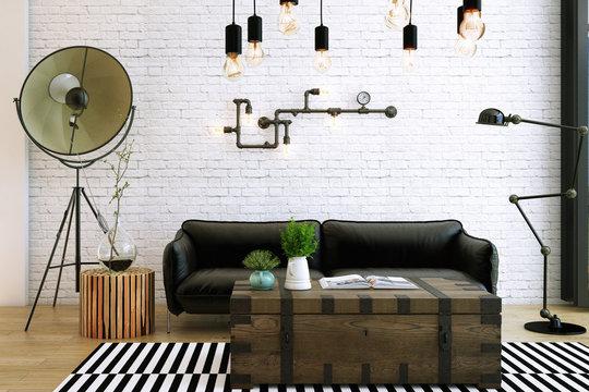 Livingroom design ,interior of industrial style, 3d Rendering, 3d illustration