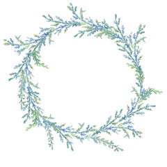 Winter watercolor painted Christmas wreath on white background