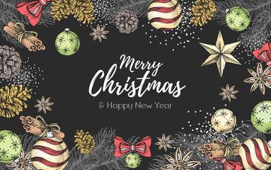 Christmas holiday hand drawing poster. Christmas greeting card