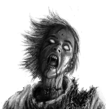 Screaming zombie woman on white background