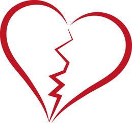 broken heart - simple red line