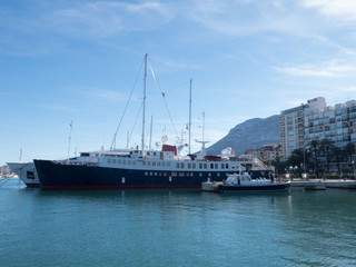 Harbour and see ship in Denia, Spain