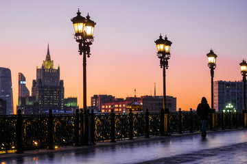 Moscow, Russia - December, 1, 2018: Image of night embankment in Moscow