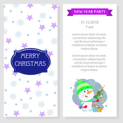 New Year party program design with snowman. White booklet with cartoon snowman and emblem. Can be used for festive program, party, invitations