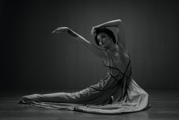 black and white dancing woman portrait