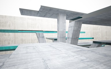 Abstract interior of blue glass and concrete. Architectural background. 3D illustration and rendering