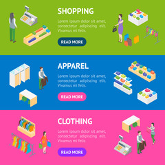 Clothing Store Interior with Furniture Banner Horizontal Set Isometric View. Vector