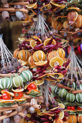 Christmas decorations made from dried fruits, vegetables and spices