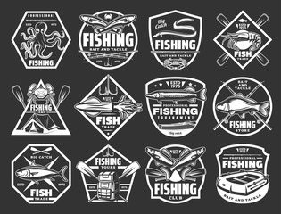 Fishing sport monochrome icons for tackle store
