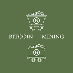 Mining bitcoins trolleys with ore.