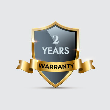 Glass shield with golden frame and ribbon and Two years warranty text. Vector two years warranty golden shield illustration.