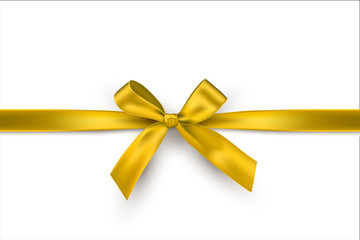 Golden bow and horizontal gold ribbon isolated on white background. Vector decorative yellow bow.