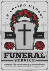Funeral services poster with gravestone and wreath