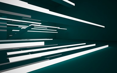 Abstract interior of the future in a minimalist style with green  sculpture. Night view from the backligh. Architectural background. 3D illustration and rendering