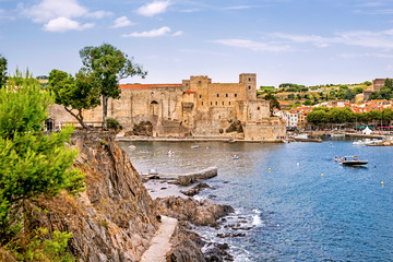 Scenic panoramic view of the coastal Mediterranean town Collioure in Languedoc-Roussillon, France