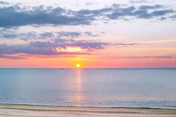 Sunrise on the Mediterranean coast of France in Argeles-sur-Mer