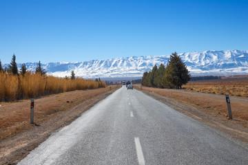Road leading to snow Atlas mountains