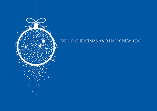 Minimalist blue Christmas card vector. Holiday background with hanging Christmas balls. White and blue christmas ornaments. Elegant blue christmas background