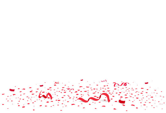 Confetti, red papers scatter and ribbons on the floor, celebration party seasonal holiday abstract background vector illustration