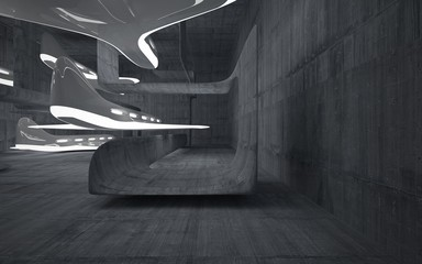 Empty dark abstract concrete room smooth interior with glossy white sculpture. Architectural background. Night view of the illuminated. 3D illustration and rendering