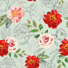 Red peony, rose flowers and green leaves print. Vector illustration. Seamless pattern. Trendy linear botanical design. Floral graphic. Nature summer plants. Romantic wedding background