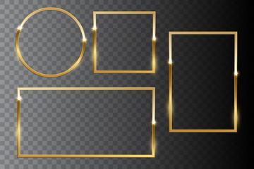 Golden shiny frame set isolated on dark transparent background. Vector design elements.