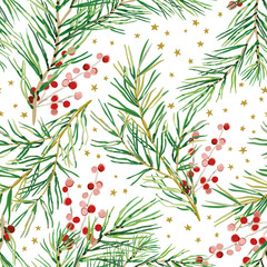 Christmas seamless pattern, white background. Green pine twigs, red berries, stars. Vector illustration. Nature design. Season greeting digital paper. Winter Xmas holidays