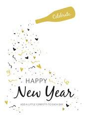 Happy New Year 2019 Greeting Card on white background
