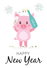 Happy New Year 2019 Greeting Card with sparkling pig