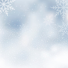 Winter background with cloudy and snowed sky. Vector.