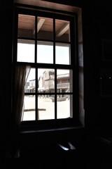 Tavern window in far western town