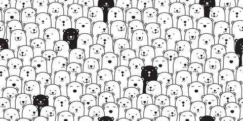 Bear seamless pattern vector polar bear breed scarf isolated cartoon illustration tile background repeat wallpaper doodle Wall mural