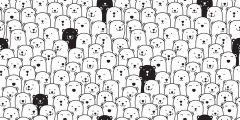 Bear seamless pattern vector polar bear breed scarf isolated cartoon illustration tile background repeat wallpaper doodle Fototapete