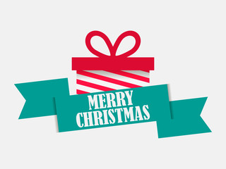 Merry Christmas. Festival banner with gift box and ribbon on white background. Elements of the greeting card. Vector illustration