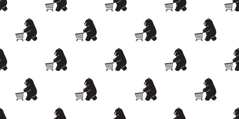 Bear seamless pattern vector polar bear shopping cart bag scarf isolated cartoon illustration tile background repeat wallpaper