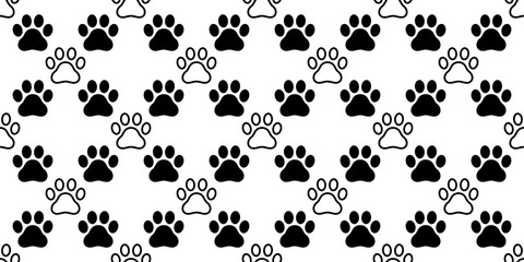 Dog Paw seamless pattern vector footprint heart valentine cat kitten puppy bear scarf isolated cartoon repeat wallpaper tile background illustration white black