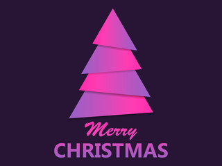 Merry Christmas. Paper Christmas tree purple gradient, papercut style. Vector illustration