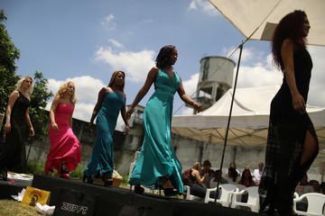 Garota TB beauty contest perform at the Talavera Bruce women prison in Rio de Janeiro