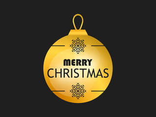 Merry Christmas. Golden christmas ball on black background. Gold gradient. Greeting card design template. Vector illustration