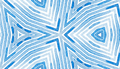 Blue Geometric Watercolor. Curious Seamless Patter