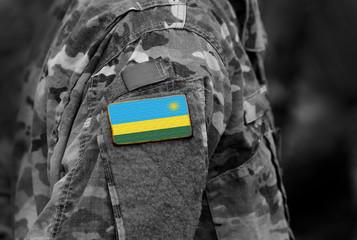 Flag of Rwanda on soldiers arm. Rwanda flag on military uniform. Army, troops, Africa (collage).