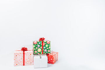 Christmas gift boxes, on a white background.