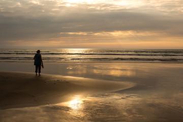 Beautiful summer scene at Westward Ho beach in North Devon , England